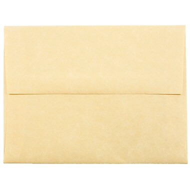 JAM Paper® A2 Invitation Envelopes, 4 3/8 x 5 3/4, Parchment Antique Gold Yellow Recycled, 25/pack (55574)