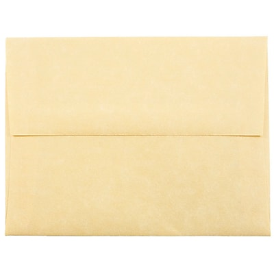 JAM Paper® A2 Invitation Envelopes, 4 3/8 x 5 3/4, Parchment Antique Gold Yellow Recycled, 50/pack (55574I)