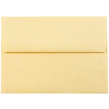 JAM Paper® A6 Invitation Envelopes, 4.75 x 6.5, Parchment Antique Gold Yellow Recycled, 25/pack (56721)