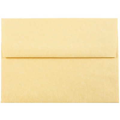 JAM Paper® A6 Invitation Envelopes, 4.75 x 6.5, Parchment Antique Gold Yellow Recycled, 50/pack (56721I)