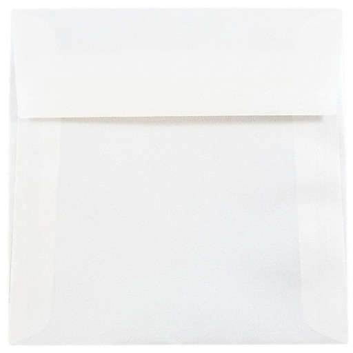 JAM Paper® 5.5 x 5.5 Square Translucent Vellum Invitation Envelopes, Platinum Silver, 25/Pack (59413)
