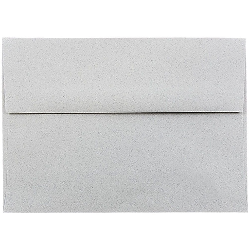 JAM Paper® A7 Passport Invitation Envelopes, 5.25 x 7.25, Granite Silver Recycled, 50/Pack (71813I)