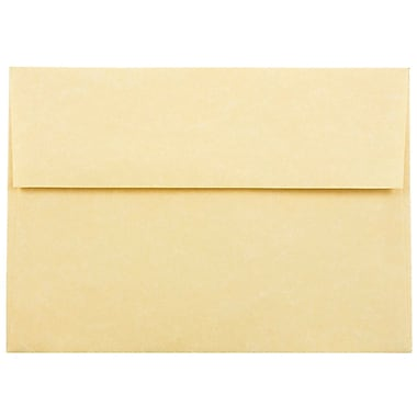 JAM Paper® A7 Invitation Envelopes, 5.25 x 7.25, Parchment Antique Gold Yellow Recycled, 25/pack (78758)