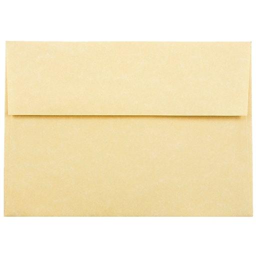 JAM Paper® A7 Parchment Invitation Envelopes, 5.25 x 7.25, Antique Gold Recycled, Bulk 1000/Carton (78758B)