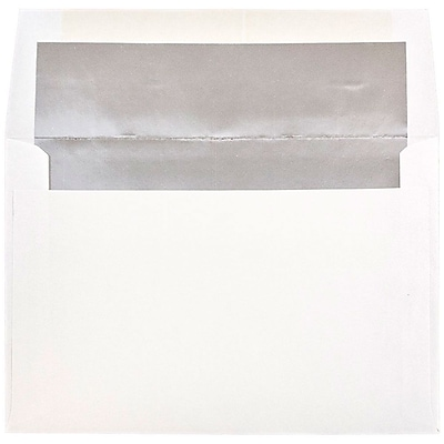 JAM Paper® A8 Foil Lined Envelopes, 5.5 x 8.125, White with Silver Lining, 25/pack (83123)