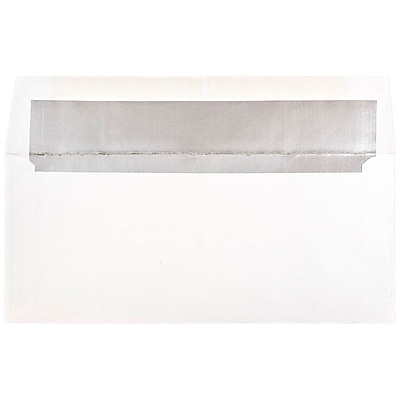 JAM Paper® #10 Foil Lined Envelopes, 4 1/8 x 9 1/2, White with Silver Lining, 500/box (95157H)