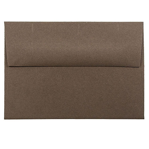JAM Paper® 4Bar A1 Invitation Envelopes, 3.625 x 5.125, Chocolate Brown Recycled, Bulk 250/Box (233708H)