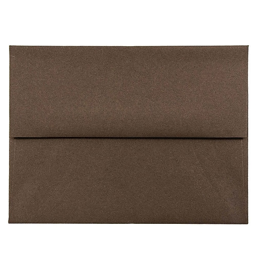 JAM Paper® A2 Invitation Envelopes, 4.375 x 5.75, Chocolate Brown Recycled, 25/Pack (233709)