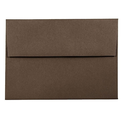 JAM Paper® A6 Invitation Envelopes, 4.75 x 6.5, Chocolate Brown Recycled, 50/pack (233710I)