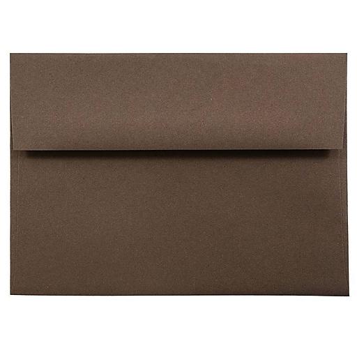 JAM Paper® A7 Invitation Envelopes, 5.25 x 7.25, Chocolate Brown Recycled, Bulk 250/Box (233711H)