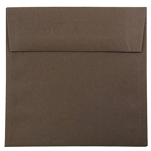 JAM Paper® 6 x 6 Square Invitation Envelopes, Chocolate Brown Recycled, 50/Pack (234680I)