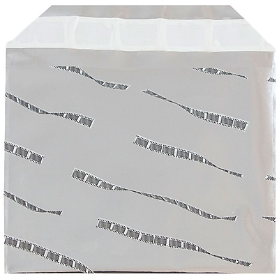 JAM Paper® Foil Envelopes with Self Adhesive Closure, 5 x 6 1/8, Booklet, Silver Film Design, 100/pack (01323265B)