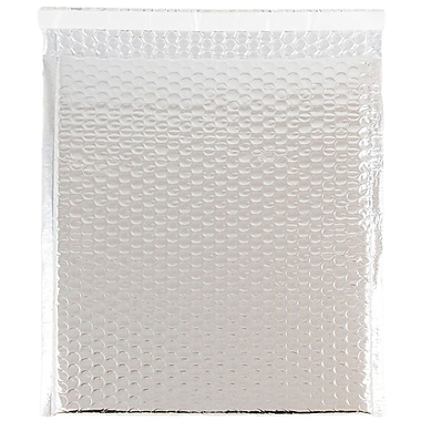 JAM Paper® Bubble Mailers with Peel and Seal Closure, 10 x 13, Silver Metallic, 12/pack (2744437)