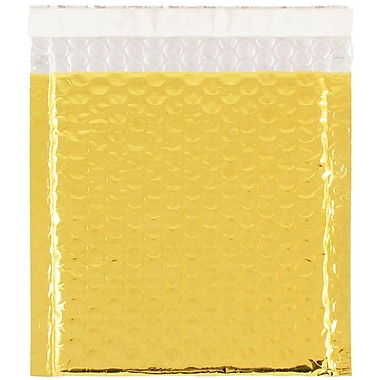JAM Paper® CD Size Bubble Mailers with Peel and Seal Closure, 6 x 6.5, Gold Metallic, 12/pack (2745207)