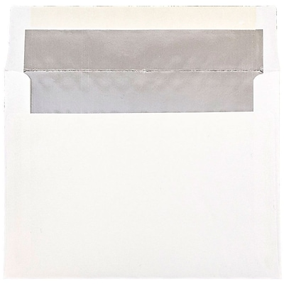 JAM Paper® A7 Foil Lined Envelopes, 5.25 x 7.25, White with Silver Lining, 50/pack (3243671I)