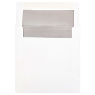 JAM Paper® 6 x 6 Square Foil Lined Envelopes, White with Silver Lining, 25/pack (3244688)