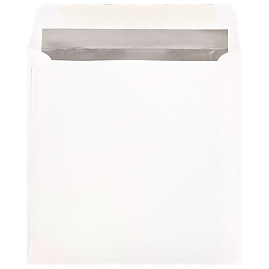 JAM Paper® 8.5 x 8.5 Square Foil Lined Envelopes, White with Silver Lining, 25/pack (3244691)