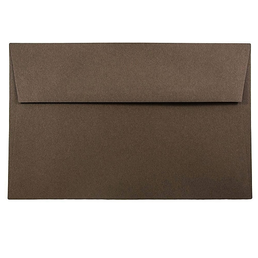 JAM Paper® A9 Invitation Envelopes, 5.75 x 8.75, Chocolate Brown Recycled, 50/Pack (32311328I)