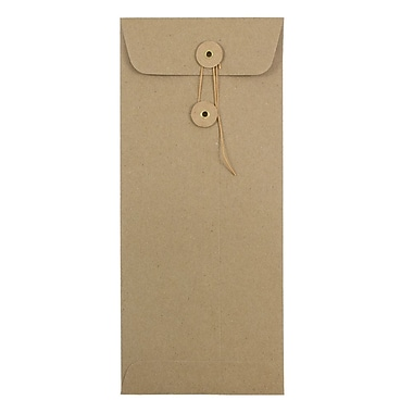 JAM Paper® #10 Policy Envelopes, Button and String Tie Closure, 4 1/8 x 9 1/2, Brown Kraft Paper Bag, 1000/carton (41266941B)
