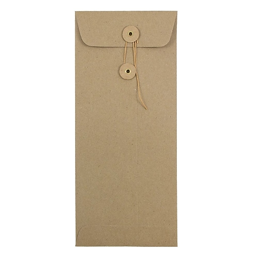 JAM Paper® #10 Policy Envelopes with Button and String Closure, 4.125 x 9.5, Brown Kraft Paper Bag, 50/Pack (41266941I)