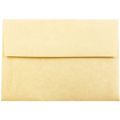 JAM Paper® 4bar A1 Envelopes, 3 5/8 x 5 1/8, Parchment Antique Gold Yellow Recycled, 250/box (90090522H)