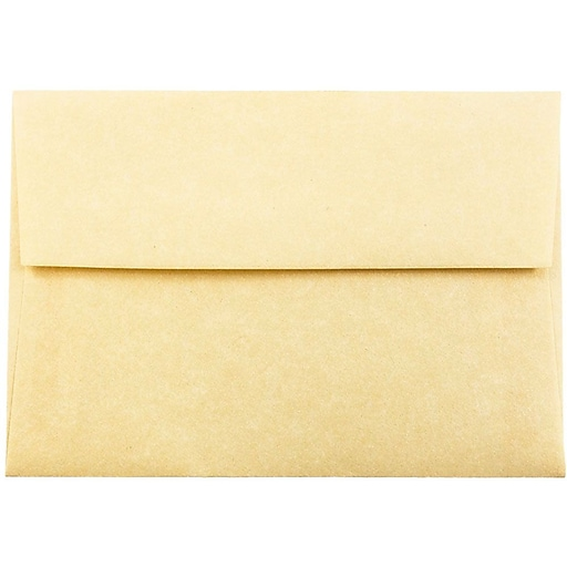 JAM Paper® 4Bar A1 Parchment Invitation Envelopes, 3.625 x 5.125, Antique Gold Recycled, 50/Pack (90090522I)