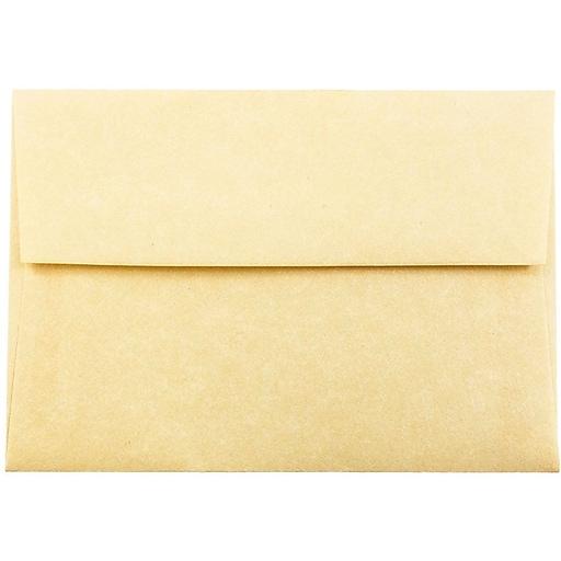 JAM Paper® 4Bar A1 Parchment Invitation Envelopes, 3.625 x 5.125, Antique Gold Recycled, Bulk 250/Box (90090522H)