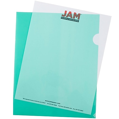 JAM Paper® Plastic Sleeves, 9 x 11.5, Green, 600/box (226325846C)