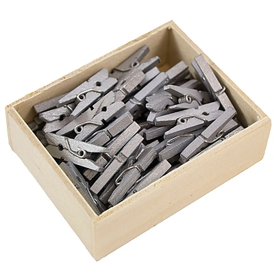 JAM Paper® Wood Clothing Pin Clips, Small 7/8, Silver, 50/pack (230726887)