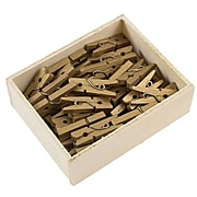 JAM Paper® Wood Clip Clothespins, Small 7/8 Inch, Gold Clothes Pins, 50/Pack (230726889)