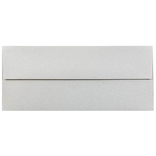 JAM Paper® #10 Passport Business Envelopes, 4.125 x 9.5, Granite Silver Recycled, 50/Pack (900787003I)
