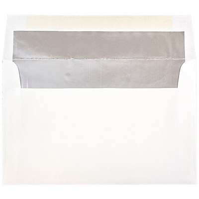 JAM Paper® A10 Foil Lined Envelopes, 6 x 9.5, White with Silver Lining, 25/pack (900905601)