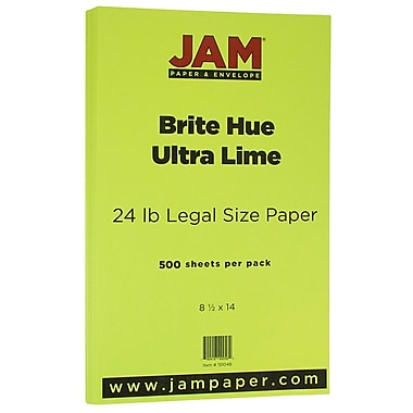 JAM Paper® Bright Color Legal Paper, 8 1/2 x 14, 24lb Brite Hue Ultra Lime Green, 500/box (0151048B)
