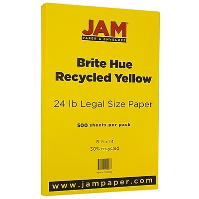JAM Paper® Bright Color Legal Paper, 8 1/2 x 14, 24lb Brite Hue Yellow Recycled, 500/box (0151050B)