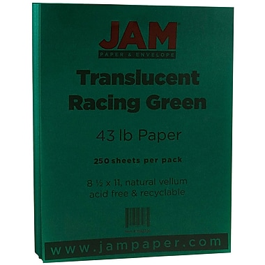 JAM Paper® Translucent Vellum Cardstock, 8.5 x 11, 43lb Racing Green, 50/pack (1592226)