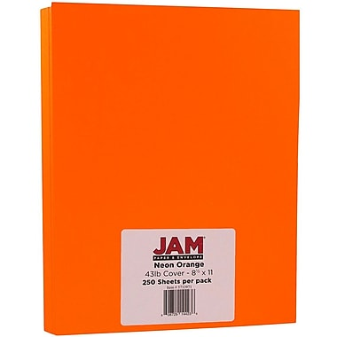 JAM Paper® Neon Cardstock, 8.5 x 11, 43lb Fluorescent Orange, 250/ream (05733973B)