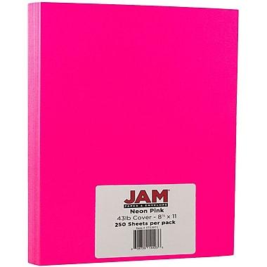JAM Paper® Neon Cardstock, 8.5 x 11, 43lb Fluorescent Pink, 250/ream (05733975B)