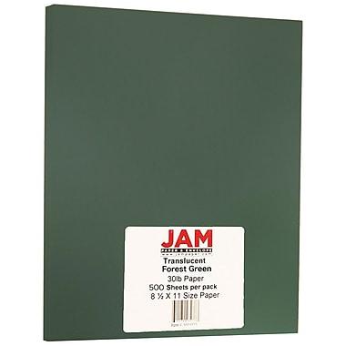 JAM Paper® Translucent Vellum Paper, 8.5 x 11, 30lb Forest Green, 500/ream (05974771B)