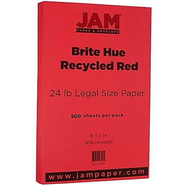 JAM Paper® Bright Color Legal Paper, 8 1/2 x 14, 24lb Brite Hue Red Recycled, 500/box (101337B)