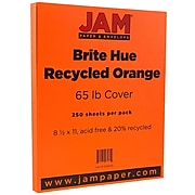 JAM Paper® Colored 65lb Cardstock, 8.5 x 11 Coverstock, Orange Recycled, 250 Sheets/Ream (1033879B)