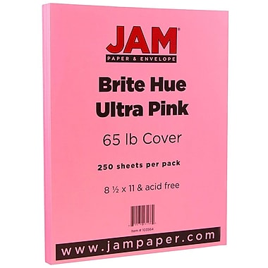 JAM Paper® Bright Colour Cardstock, 8.5 x 11, 65lb Ultra Pink, 250/Pack (103614B)