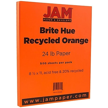 JAM Paper® Bright Colour Paper, 8.5 x 11, 24lb Brite Hue Orange Recycled, 500/Pack (103655B)