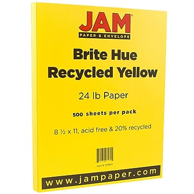 JAM Paper® Bright Colour Paper, 8.5 x 11, 24lb Brite Hue Yellow Recycled, 500/Pack (103945B)