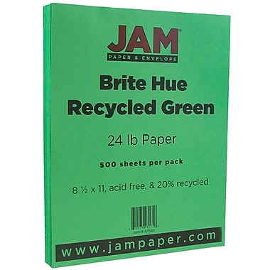 JAM Paper® Bright Colour Paper, 8.5 x 11, 24lb Brite Hue Green Recycled, 500/Pack (104083B)