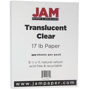 """JAM Paper® Translucent Vellum Paper - 8.5"""" x 11""""- 17lb Clear 500/box"""