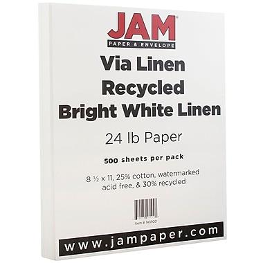 JAM Paper® Strathmore Paper, 8.5 x 11, 24lb Bright White Linen, 500/Pack (143920B)
