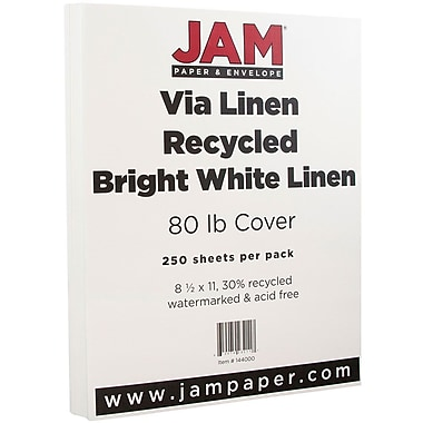 JAM Paper® Strathmore Cardstock, 8.5 x 11, 80lb Bright White Linen, 250/Pack (144000B)