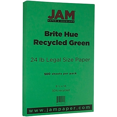 JAM Paper® Bright Color Legal Paper, 8 1/2 x 14, 24lb Brite Hue Green Recycled, 500/box (151053B)