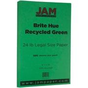 JAM Paper® Bright Color Legal Paper, 8 1/2 x 14, 24lb Brite Hue Green Recycled, 500/box (151053B)