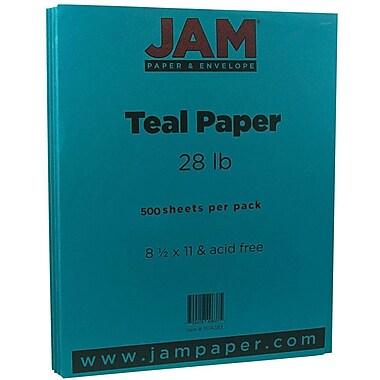 JAM Paper® Matte Paper, 8.5 x 11, 28lb Teal Blue, 500/Pack (1524383B)